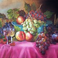 Fruit And Wine On Mauve Cloth by Joni McPherson