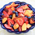 Fruit Salad In Blue Bowl by Carol Groenen