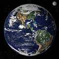 Full Earth Showing North And South by Stocktrek Images