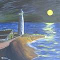 Full Moon Lighthouse by Rich Fotia