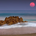 Full Moon Over Ocean And Rocks by Melinda Moore