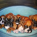 Funny Puppies Orginal Oil Painting by Natalja Picugina