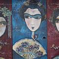 Geisha Love Triptych by Laurie Maves ART