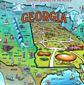 Georgia Usa Cartoon Map by Kevin Middleton