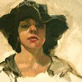 Girl In A Floppy Hat by Merle Keller