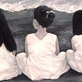 Girls In White At The Beach by Patricia Awapara
