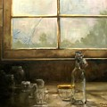 Glass Jars By Window by Tom Forgione