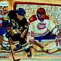 Goalie  And Hockey Art by Carole Spandau