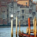 Grand Canal In Venice With Light On Pole by Michael Henderson