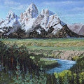 Grand Teton And Snake River by Heather Coen