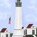 Grays Harbor Light Station Historic View by Anne Norskog