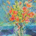 Green Glads Coral Glads by Betty J Bee