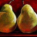 Green Pears On Red by Toni Grote