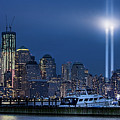 Ground Zero Tribute Lights And The Freedom Tower by Chris Lord