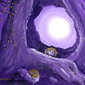 Hedgehogs In Purple Moonlight by Laura Iverson