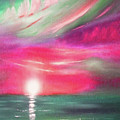Here It Goes - In Teal And Magenta Vertical Sunset by Gina De Gorna