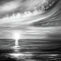 Here It Goes - Square Sunset In Black And White by Gina De Gorna