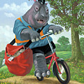 Hippo Post Man On Cycle by Martin Davey