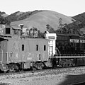 Historic Niles Trains In California . Southern Pacific Locomotive And Sante Fe Caboose.7d10843.bw by Wingsdomain Art and Photography