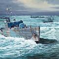 Hms Compass Rose Escorting North Atlantic Convoy by Glenn Secrest