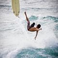 Hookipa Maui Flying Surfer by Denis Dore