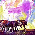 Horses Flock Pasture Animal  by PixBreak Art
