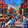 Hotel De Ville Montreal Hockey Street Scene by Carole Spandau