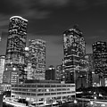 Houston By Night In Black And White by Olivier Steiner