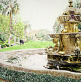 Huntington Fountain Morning Mist by David Lloyd Glover