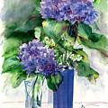 Hydrangeas In Vases by Priscilla Powers