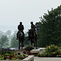 Hyrum And Joseph Smith Statue In The Mist From The Mississippi by Kim Corpany