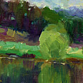 Impressionistic Oil Landscape Lake Painting by Svetlana Novikova