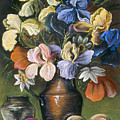Iris In Brass Pitcher by Michael Scherer