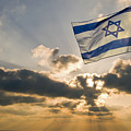 Israeli Flag And Sunset by Daniel Blatt