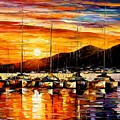 Italy - Naples Harbor- Vesuvius by Leonid Afremov
