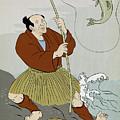 Japanese Fisherman Fishing Catching Trout Fish by Aloysius Patrimonio