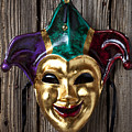 Jester Mask Hanging On Wooden Wall by Garry Gay