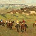 Jockeys On Horseback Before Distant Hills by Edgar Degas