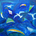Kites And Seagulls Over Pacific by Aliza Souleyeva-Alexander
