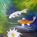 Kohaku Koi And Water Lily by Barbara Harper
