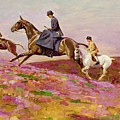 Lady Currie With Her Sons Bill And Hamish Hunting On Exmoor  by Cecil Charles Windsor Aldin