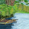 Lake Bratan Boats Bali Indonesia by Melly Terpening