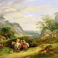Landscape With Figures And Cattle by James Leakey