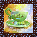 Latte Coffee Cup With Blue Dots by Jai Johnson