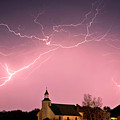 Lightning Bolts Over Spring Valley Country Church by Mark Duffy