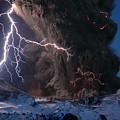 Lightning Pierces The Erupting by Sigurdur H Stefnisson