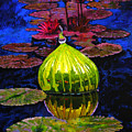 Lilies And Glass Reflections by John Lautermilch