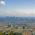 Los Angeles Skyline Between Power Lines by David Zanzinger