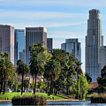 Los Angeles Skyline From Echo Park by Helaine Cummins