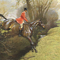 Lt Col Ted Lyon Jumping A Hedge by Cecil Charles Windsor Aldin